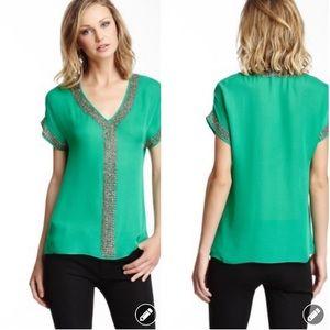 Love Token green hand beaded silk blouse #883
